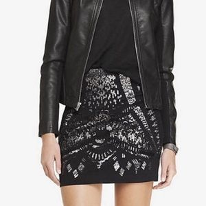 Express • Silver/Black Sequined Miniskirt.